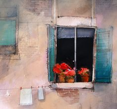 Open Shutters by John Lovett* Watercolor Architecture, Watercolor Landscape, Watercolor Artists, Watercolour Painting, Watercolours, John Lovett, Open Shutters, Principles Of Design, Painting Inspiration