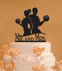 Body Builder Building weight lifters silhouettes wedding Cake Topper is m. Bride And Groom Cake Toppers, Custom Wedding Cake Toppers, Wedding Topper, Wedding Cupcakes, Cake Wedding, Wedding Shoes, Beautiful Wedding Cakes, Gorgeous Cakes, Silhouette Wedding Cake