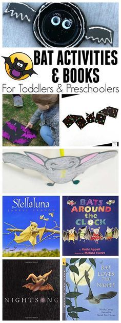 Bat-Themed Activities for Toddlers and Preschoolers Week activity plan for bat or nocturnal animals with the featured book Stellaluna by Janell Cannon, aimed at Toddlers and Preschoolers Kindergarten Art Activities, Art Activities For Toddlers, Animal Activities, Preschool Curriculum, Creative Activities, Preschool Learning, Toddler Preschool, Kindergarten Class, Preschool Themes