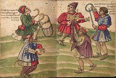 """Danza morisca"". Dibujo de Christoph Weiditz (1529) ""Trachtenbuch"" des Christoph Weiditz, Germanisches Nationalmuseum Nürnberg, Hs. 22474. Bl. 107–108 Der Moriskentanz. Español: ""Danza morisca""."