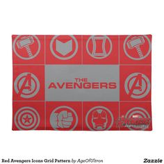 Red Avengers Icons Grid Pattern Cloth Place Mat