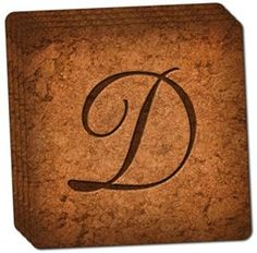 "Amazon.com: Custom & Cool {4"" Inches} Set Pack of 4 Square ""Grip Texture"" Drink Cup Coaster Made of Cork w/ Elegant and Personalized Home Decor Fancy Script Letter D Initial Design [Beige & Brown Colors]: Home & Kitchen"