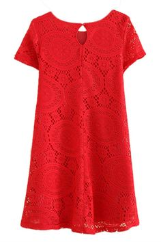 AM CLOTHES Womens Loose Short Sleeve Hollow Out Lace Mini Base Dress X-Small Red