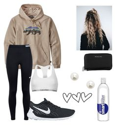 """""""errands day"""" by makenzieggg ❤ liked on Polyvore featuring Patagonia, NIKE, Michael Kors, Avery, Forever 21 and Calvin Klein"""