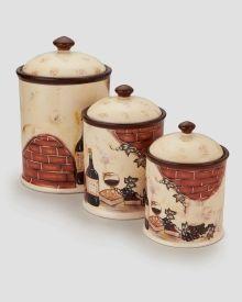 3 piece ceramic antique square canister set drew derose https
