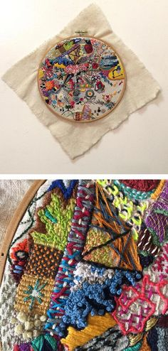 Hannah Claire Somerville is currently in the midst of exploration with her project aptly-called 1 Year of Stitches. Hand Embroidery Stitches, Embroidery Thread, Beaded Embroidery, Cross Stitch Embroidery, Embroidery Patterns, Textiles, Bordados E Cia, Art Du Fil, Creative Embroidery