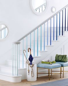 You can use color to highlight an everyday aspect of your home and have it make a statement in the process. Why not paint the individual spindles on your staircase in graduating shades? This is a weekend project that will give your entryway the color wow factor!