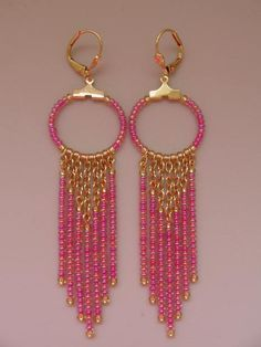 Seed Bead Chain Hoop Earrrings  Fuchsia Gold by pattimacs on Etsy, $18.00
