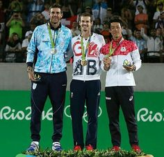 When you are on this podium you have made history and if you have been there twice as these two you are a hero!  Your 2016 Olympics men's singles medalist! Congrats boys!  Photo/Foto: Unknown/Desconocido  #olympics #rio 2016 #Olympicmedalist #andymurray #juanmartindelpotro #keinishikori #delpo #tennis #tenis #atp #wta #UK #greatbritain #argentina #japan #wilson #head #nike #underarmour #adidas #uniqlo #asics #sigma