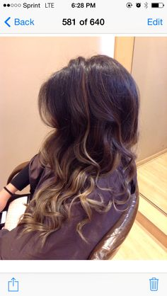 Brunette balyaged ombre. Still dramatic enough, will grow out so soft. Perfect for my Low maintence ladies!