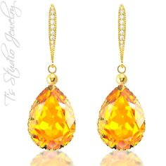 CHOOSE YOUR COLOR Pear Shaped Crystal Bridesmaid Earrings - from T's Studio Jewelry - tstudiojewelry.com