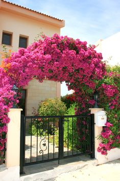 Floral arch with wall mount mailbox