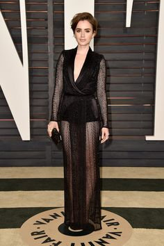 OSCARS Lily Collins in Zuhair Murad Couture