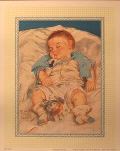 Old Victorian Art children,Angels   Art Print Sleeping Peacefully Maud Tousey Fangel Vtg Baby Child ...