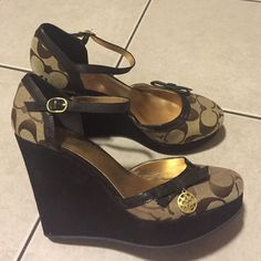 Authentic Coach Wedges Size 6.5 6 1/2