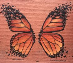 Butterfly Wings - It's All Downtown Graffiti Wall Art, Murals Street Art, Mural Wall Art, Butterfly Drawing, Butterfly Wings, Garden Mural, Garden Art, Angel Wings Wall Art, Wall Painting Decor