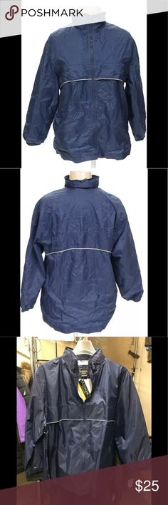 Outbrook raincoat jacket windbreaker navy 1extra L Discrimination,shell 100%nylon,lining 65%polyester,35%cotton. Measurements are as follows, Size 1X,,armpit 25,bust 50,waistline 52,hip 54,sleeve from shoulder 22.1/2,back to back 21,length from the back neck 32,arm muscle 20. out brook Jackets & Coats