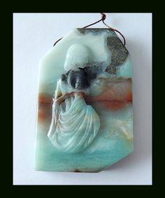 281.5 Ct Bi Color Amazonite Gemstone Pendant Bead With Godness Carving