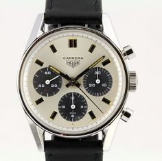 Vintage Watches First Look: TAG Heuer Carrera Calibre Vintage Watches For Sale, Luxury Watches For Men, Rolex, Fine Watches, Cool Watches, Tag Heuer Carrera Calibre, Swiss Army Watches, Beautiful Watches, Watch Sale