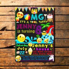 Emoji Pool Party Birthday Invitation, Emoji Invitation, Emoji Invite, Pool Party by HappyColorsDesign on Etsy https://www.etsy.com/listing/525952282/emoji-pool-party-birthday-invitation