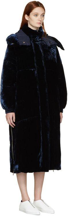 1875€ Stella McCartney - Manteau en velours bleu Marceline