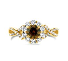 18ct gold Cognac and white diamond cluster ring