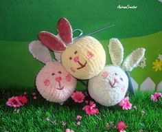 Hand Knitted Cotton Bunny Soft Toy  READY TO SHIP by AniramCreates, £18.00