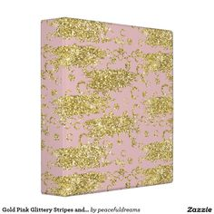 Gold Pink Glittery Stripes and Circles 3 Ring Binders