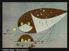 burrowing owls by Charley Harper