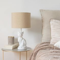 Cat Lamp with White Shade   Maisons du Monde Cat Lamp, Table Lamp, Bedroom, Fur Babies, House Ideas, Lily, Inspiration, Furniture, Crafts