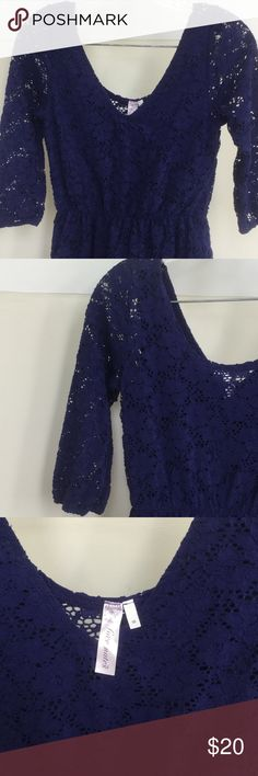 """BEST PRICE! Love Notes crochet lace dress This crochet lace dress by Love Notes is a deep, purplish blue color. Size M with the body of the dress lined but not the sleeves. Length from the shoulders to the hem is 34"""". Only worn a few times. Love Notes Dresses Midi"""