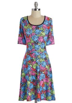 Peppy Purr-sonality Dress - Multi, Print with Animals, Casual, Kawaii, Quirky, Cats, Critters, A-line, 3/4 Sleeve, Fall, Winter, Short, Scoop