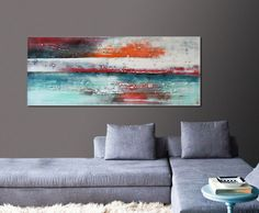 Acrylic Painting Canvas Wall art WHITE LANDSCAPE on by RoxierArt