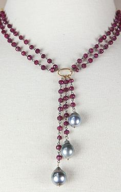TAHITIAN PEARL NECKLACE - ruby necklace - rosary chain - July birthstone - deco necklace - bridal jewelry - multi strand necklace