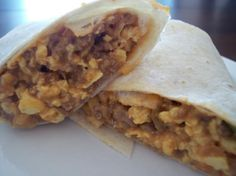 Breakfast Burritos (Once a Month Cooking) from Food.com: Great for that run in the morning breakfast. You can also take frozen burritos with you when going camping. Just place the bag of frozen burritos into the ice chest, and by the time you're ready for breakfast the first morning, the burritos are fully thawed. Then simply reheat them in a large skillet over the campstove or fire grate.