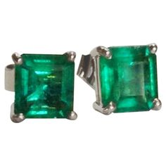 c18876565 1.97 Carat Natural Emerald Stud Earrings 18 Karat White Gold | From a  unique collection of