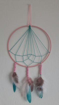 DIY - Pink & Aqua Geometric Dreamcatcher