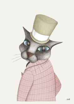 Katt i hatt III/Cat with hat III - Pnil