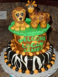 Jungle-ish Baby Shower Cake By JPenny on CakeCentral.com
