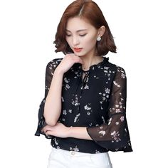 Fashion Feather Print Shirt 2018 New Professional Temperament Slim Bow Long Sleeve Chiffon Blouse Office Ladies Plus Size Tops Moderate Cost Women's Clothing