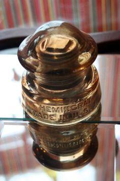 Rare Marigold Carnival Glass Insulator Hemingray D-510 w/ Brass Bushing CD 168