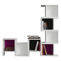Bibliothèque Piu blanche, noire et violette 29 x 40 x 25 cm
