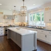 Blue Water Home Builders - kitchens - 2 tone kitchen, white and gray kitchen, perimeter cabinets, white perimeter cabinets, honed black coun...