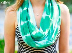 @Sara Terry- lets make these! I'll sew them and we can use your tie dye skills!     Tie-Dye Infinity Scarf