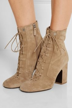 Heel measures approximately 70mm/ 3 inches Sand suede Lace-up front, zip fastening along side Made in Italy