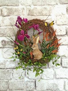 Spring Wreath Easter Bunny Wreath Easter by AdorabellaWreaths