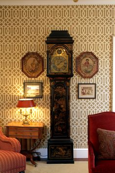 Chinoiserie clock & traditional things look great with KW's Imperial Trellis wallpaper for Schumacher.