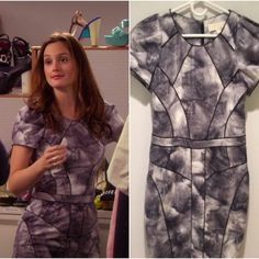 """Shop Women's Bensoni Gray Black size 4 Midi at a discounted price at Poshmark. Description: Hey upper east siders! For sale is a Bensoni gray and white printed short sleeve sheath dress, size 6 — runs slightly small. Armpit to armpit 17.5"""", waist 14"""" across. hip 38-40"""". Seen on Blair Waldorf on Gossip Girl episode 4x13: Damien Darko - during her W Magazine internship! Soft, fuzzy fabric. Original retail was $399 but I am open to offers. Be sure to check my other items!. Sold by gapgi..."""