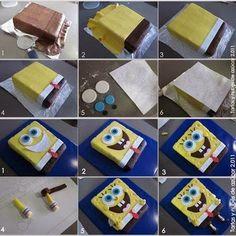 step by step Spongebob Cake.- passo a passo Bolo de Bob Esponja. step by step Spongebob Cake. Spongebob Torte, Fondant Cakes, Cupcake Cakes, Spongebob Birthday Party, Birthday Cake, Funny Birthday, Birthday Ideas, Character Cakes, Fondant Tutorial