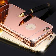 Con logo! 6 S Capa espejo de lujo caja de aluminio para Apple iphone 5 5S 6 6 S 4.7 / Plus 5.5 oro ultrafino chapado de Metal de tapa dura(China (Mainland))
